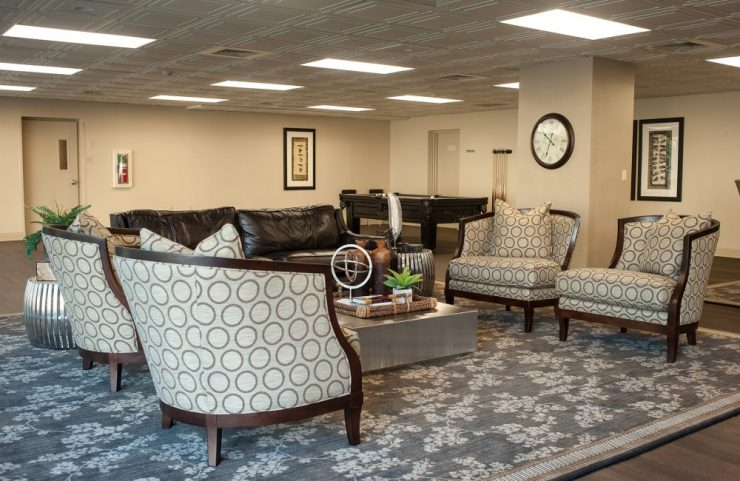 resident lounge with a variety of comfortable chairs