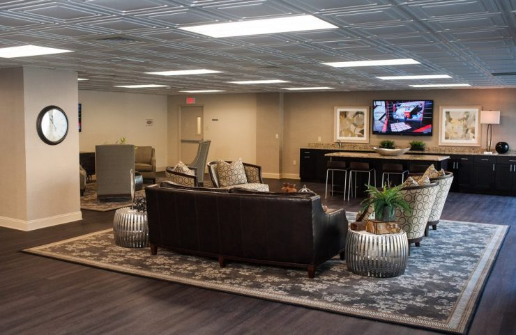 wood flooring and carpets in resident lounge