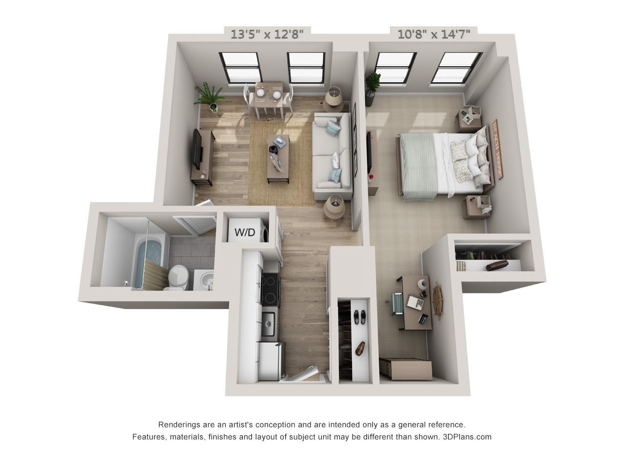 1 Bedroom, 1 Bath W/ Den
