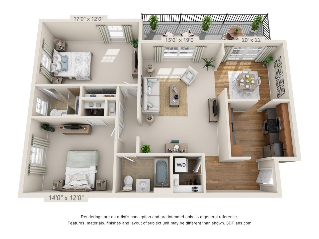 two bedroom apartment in horhsam
