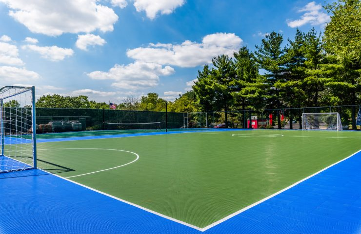 tree lined sport court on a beautiful day