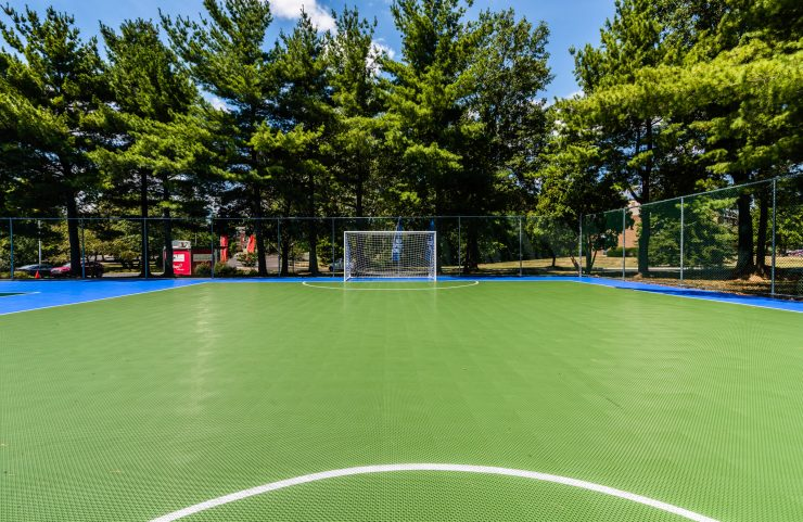 multi sport court with basketball and soccer