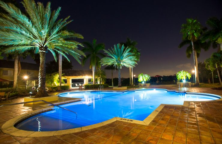 lighted resort style outdoor pool