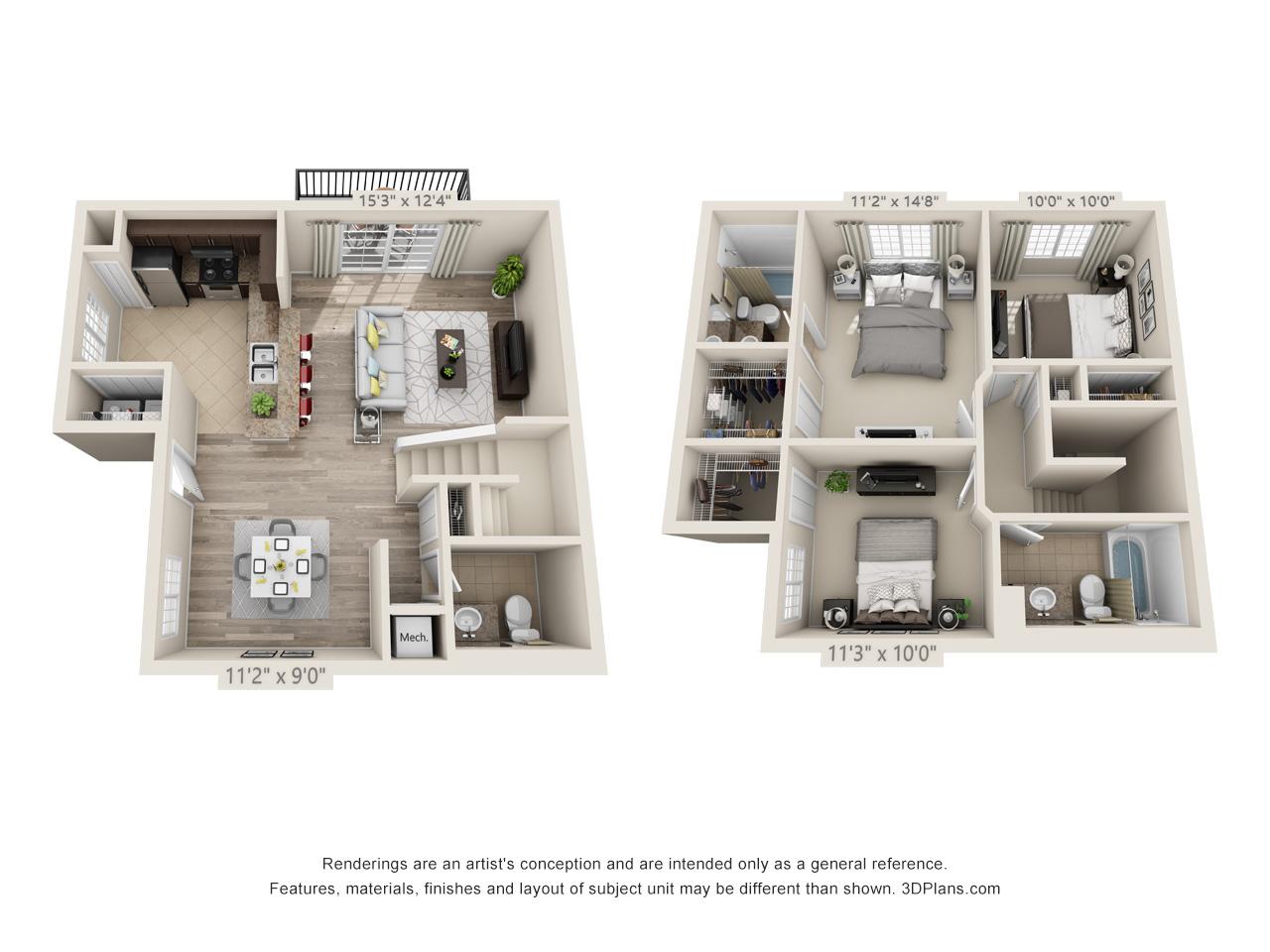 3 Bedrooms / 2.5 Bathrooms