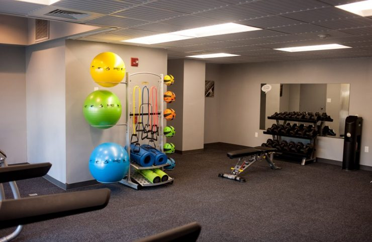 strength training equipment in fitness center