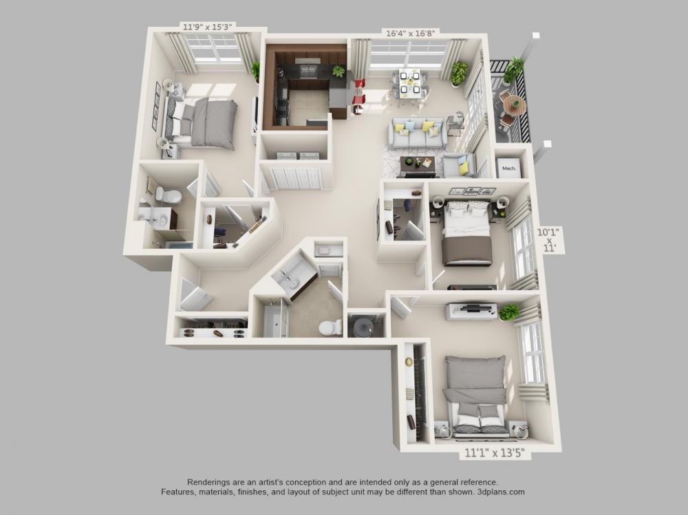 3 bed 2 bath apartments