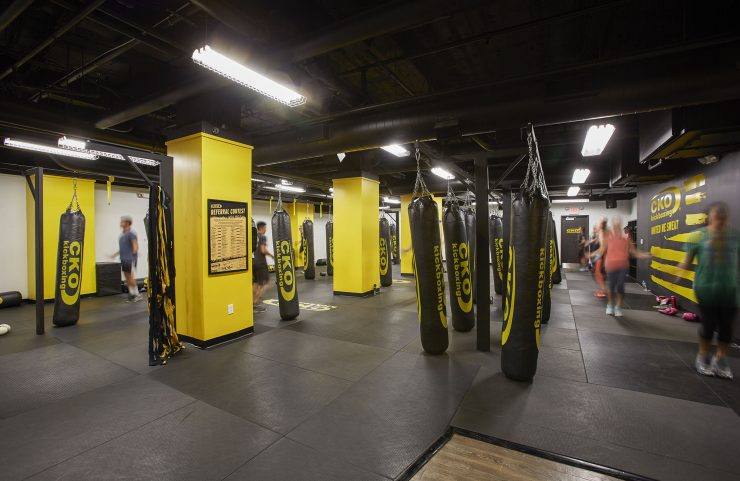 take a kickboxing class with friends on the wellness level