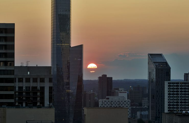 view of the sun setting from the sky deck