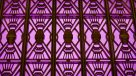 purple art deco detail at front entrance