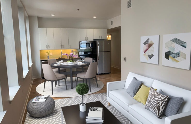 open floorplan; living, dining and kitchen