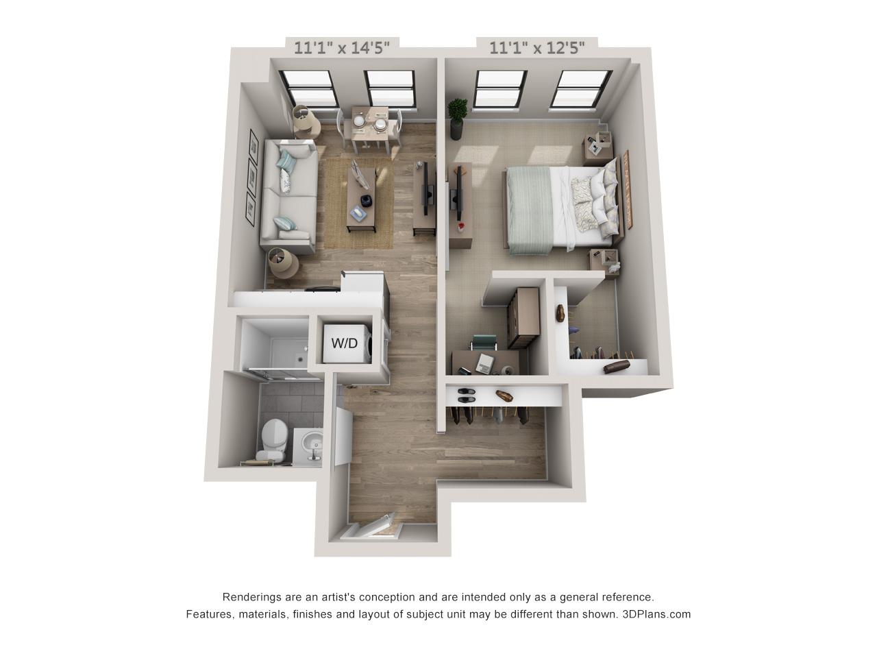 1 Bedroom Grand - 620 sq. feet