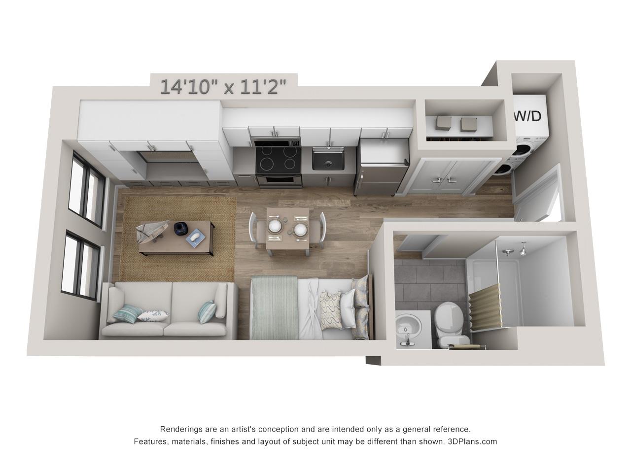 apartments in Center City philadelphia - Studio Apartment