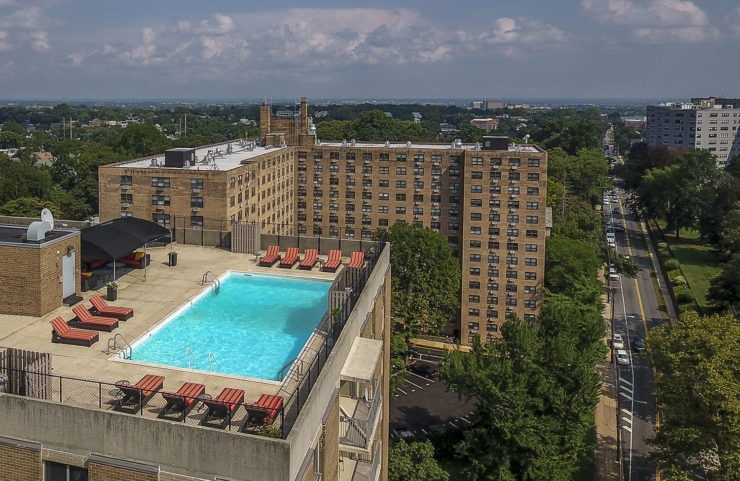 Aerial view of the rooftop pool