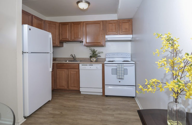 kitchen with oak cabinets and plank flooring
