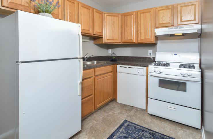 standard kitchen with white appliances
