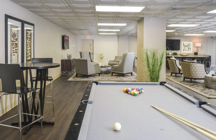 Play pool with friends in the resident lounge