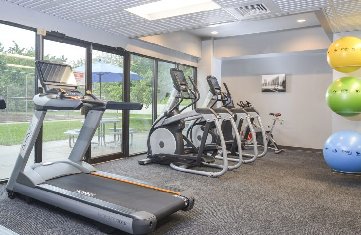 views of the outdoors while running in fitness center