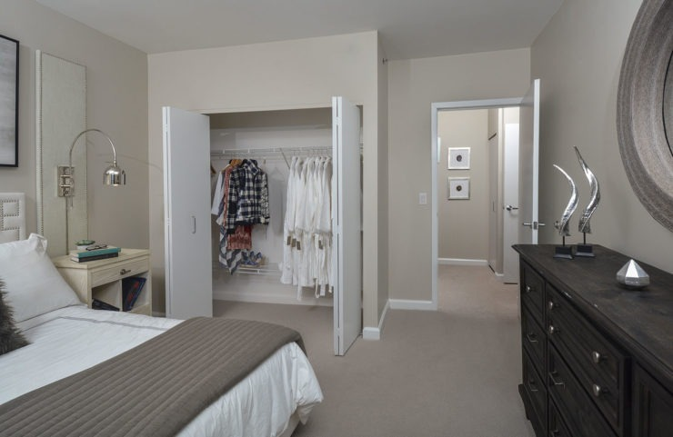 bedroom with large closet
