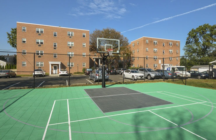 sports court to play tennis, basketball or soccer