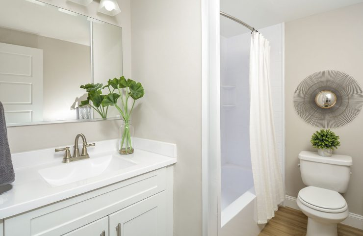 renovated bathroom with white vanity and tub