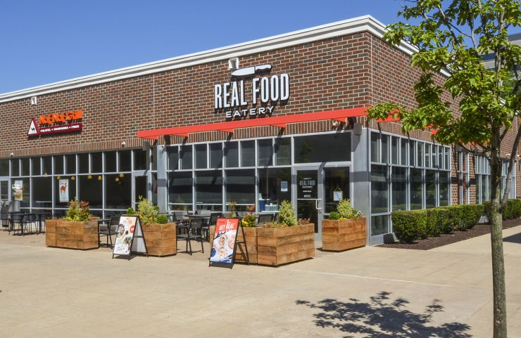exterior photo of real food eatery with outdoor seating