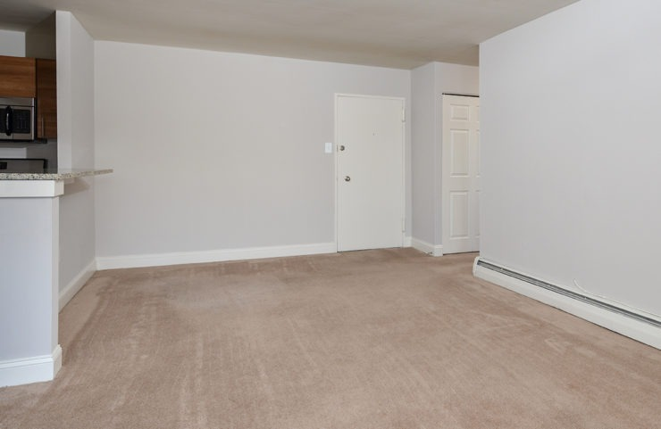 large living area with wall to wall carpeting