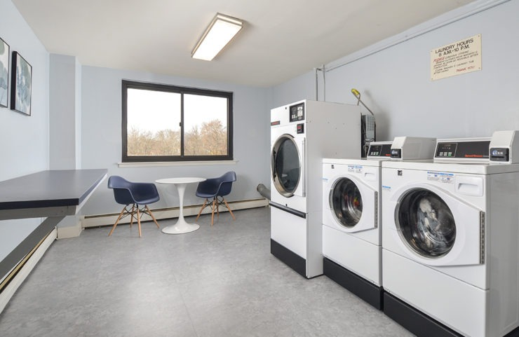 laundry room with seating