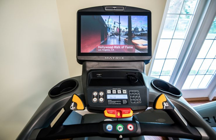 close up of the virtual active screen on treadmill
