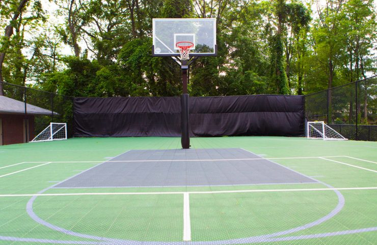 sports court with basketball net