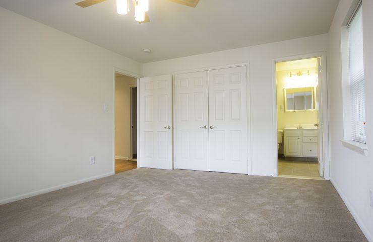 carpeted master bedroom with attached bathroom