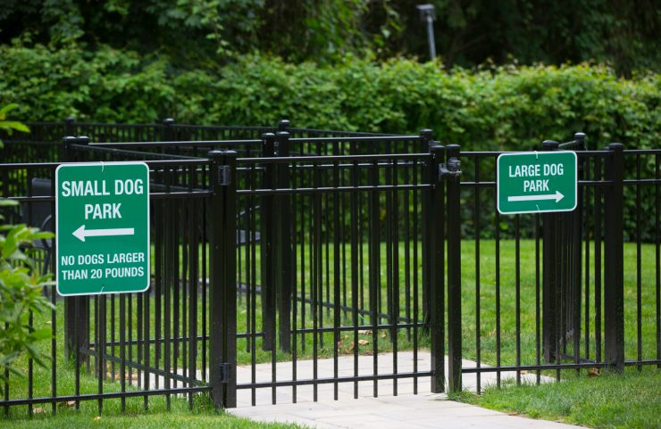 separate small dog park and large dog park
