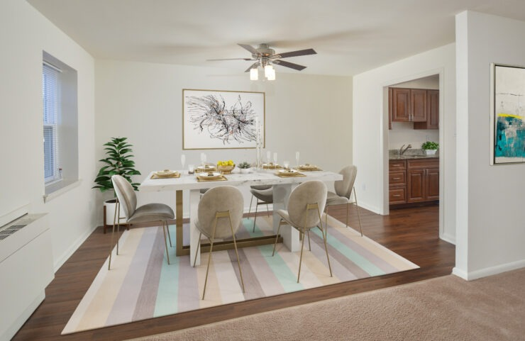 dining room with ceiling fan