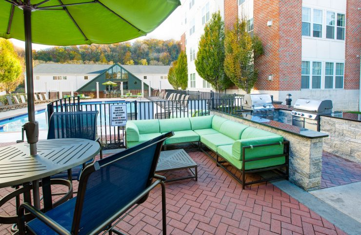 patio furniture with outdoor grills