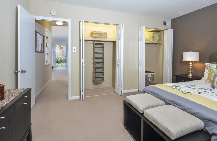 bedroom with two large closets