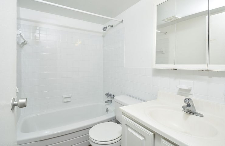 updated bathroom with white vanity and tub