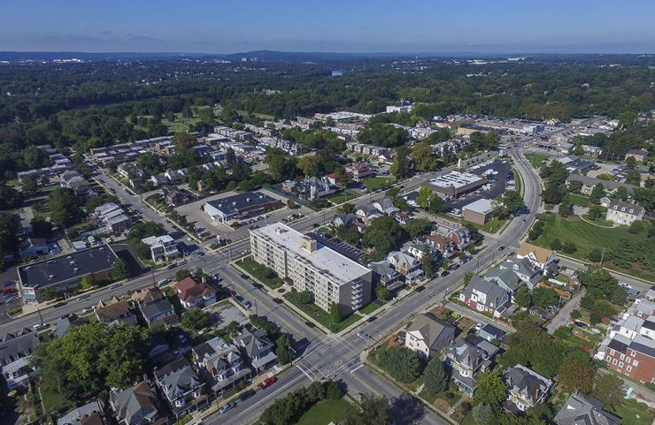 Aerial view of hamilton hall and norristown