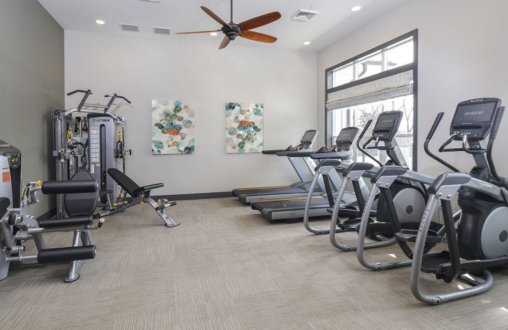 fitness center with virtual active cardio machines