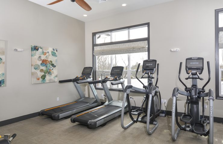 cardio machines in the fitness center overlooking the pool