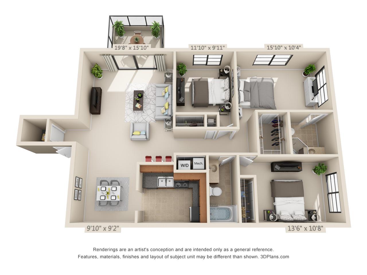 3 bedroom apartment in boca raton