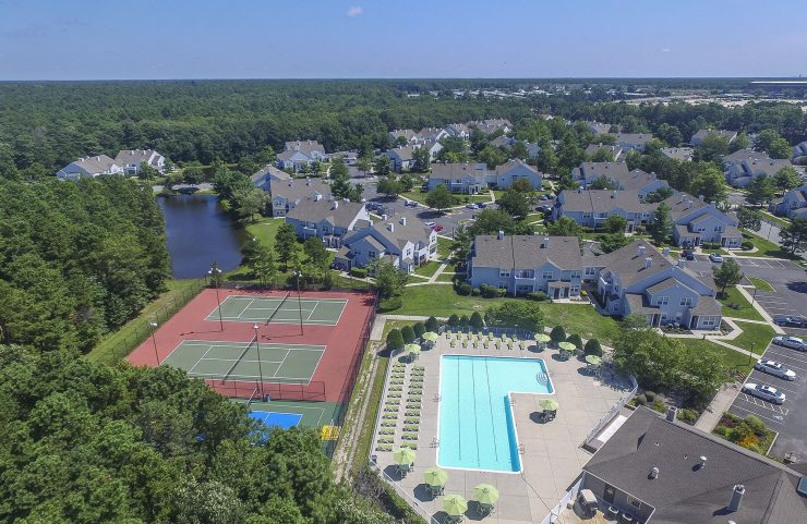 aerial view of the community, pool and tennis courts