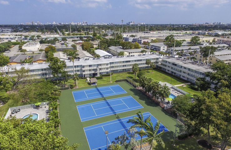 aerial view of 3 tennis courts