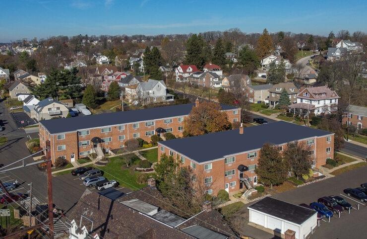 aerial view of glenside house community