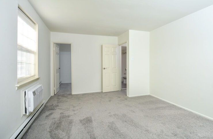 master bedroom with plush gray carpet