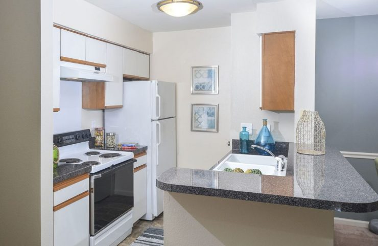 standard kitchen with white appliances