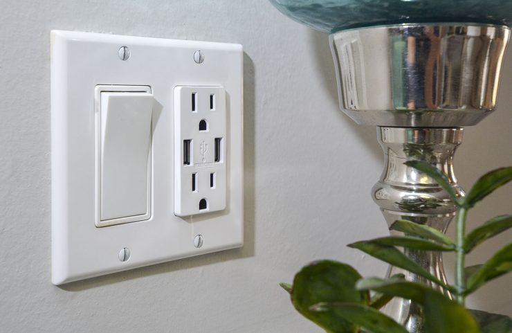 USB outlets in bedroom