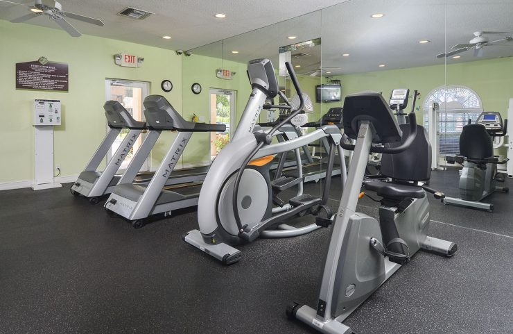 treadmills, elliptical and bike machines in fitness center