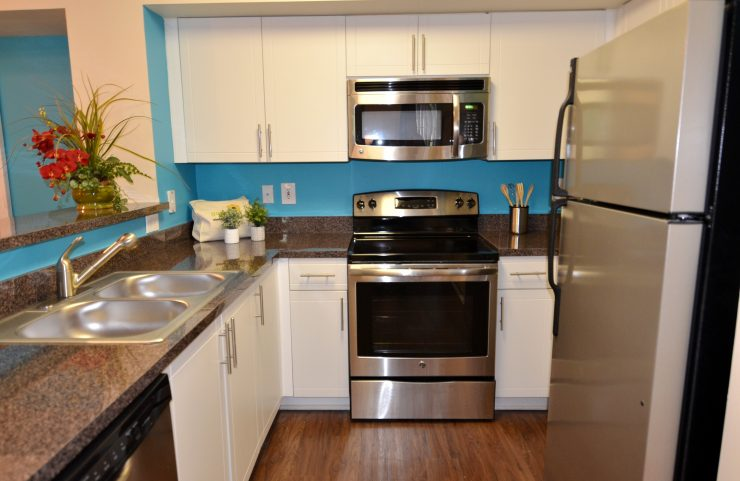 renovated apartments with stainless steel appliances