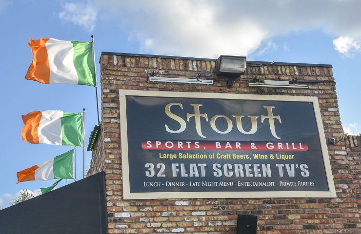 Nearby: Stout Sports Bar & Grill signage