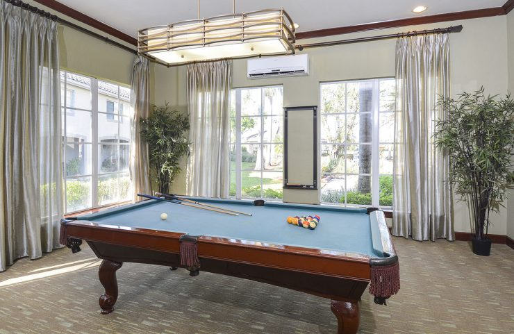 play a game of billiards with friends