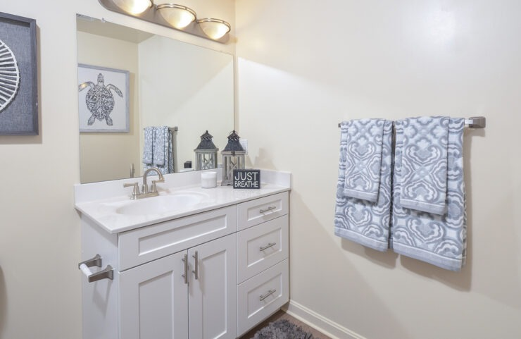 bathroom with modern fixtures and vanity